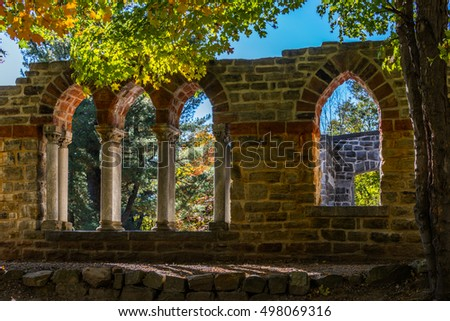 The abbey ruins at the Mackenzie King estate in the Gatineau park, Quebec  Canada
