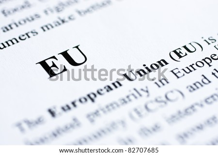 The abbreaviation EU shot with artistic selective focus. - stock photo