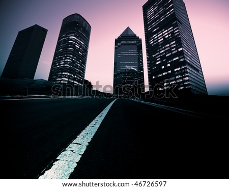 the abstract background of the road and city . - stock photo