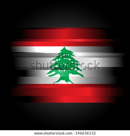 The Abstract Flag of Lebanon on black background - stock photo
