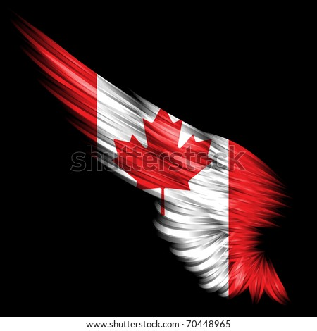 The Abstract wing with Canada flag on black background - stock photo