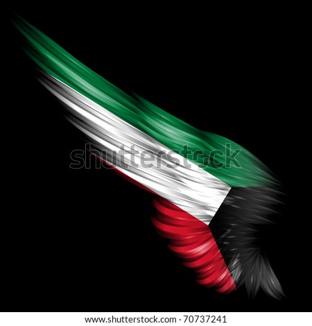 The Abstract wing with Kuwait flag on black background - stock photo