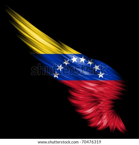 The Abstract wing with Venezuela flag on black background - stock photo