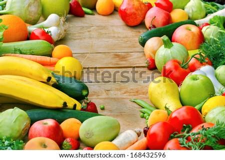 The abundance of fresh organic fruits and vegetables - stock photo