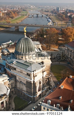 the Academy of Fine Arts - glass cupola with gold angel - Dresden - Germany - stock photo