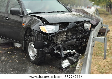 The accident on the road - stock photo