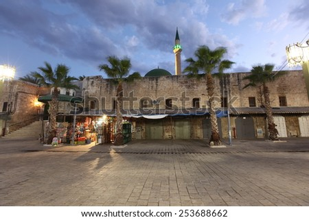 The Acre old city (also Akko ) at Mosque of Al-Jazzar,  Western Galilee,  Israel - stock photo