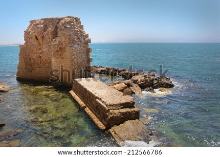 The Acre ruins at the mediterranean sea  - stock photo