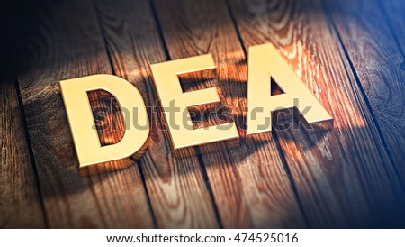 "The acronym ""DEA"" is lined with gold letters on wooden planks. 3D illustration image"