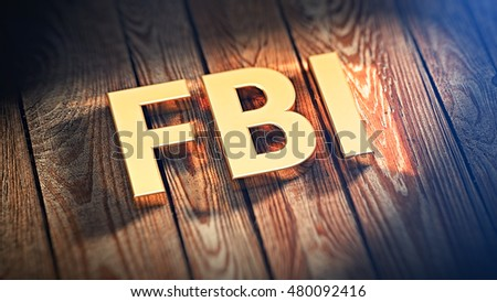 "The acronym ""FBI"" is lined with gold letters on wooden planks. 3D illustration image"