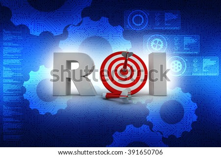 The acronym ROI, meaning Return on Investment, with an arrow hitting a bulls eye in the middle - stock photo