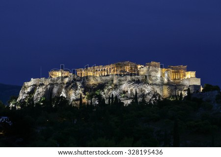 The Acropolis and Parthenon at night in Athens, Greece
