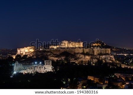 The Acropolis of Athens by Night, view form Philopappou hill - stock photo