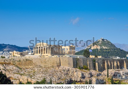 The acropolis, view from Filoppapos hill - stock photo
