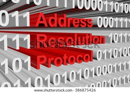 The address resolution Protocol is presented in the form of binary code - stock photo