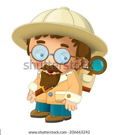 The adventurous scientist on the trip - happy illustration for children - stock photo