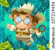 The adventurous scientist on the trip - the happy illustration for children - stock photo