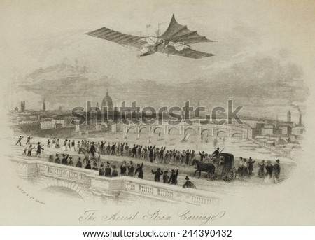 The aerial steam carriage proposed by British inventor William Samuel Henson in an imaginary flight over the Thames River London 1843. Attempts to fly a model were not successful. - stock photo
