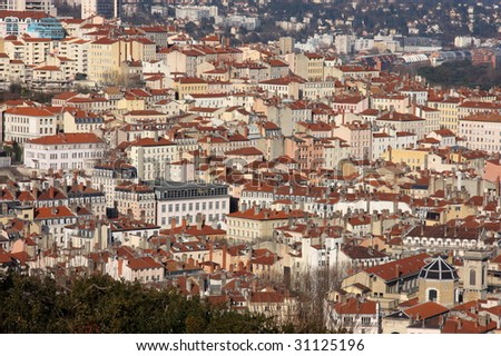 The aerial view at Lyon from Basilique of Fourviere hill. Lyon. France - stock photo