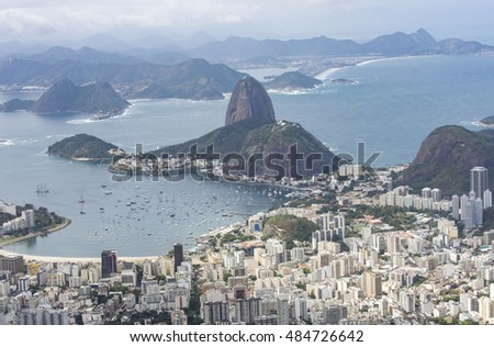 The aerial view of Rio de Janeiro from the Christ the Redeemer.