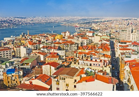 The aerial view of the city, that lies on the banks of the Golden Horn Bay, Istanbul, Turkey. - stock photo