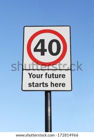 The age of 40, your future starts here, made as a road sign illustration
