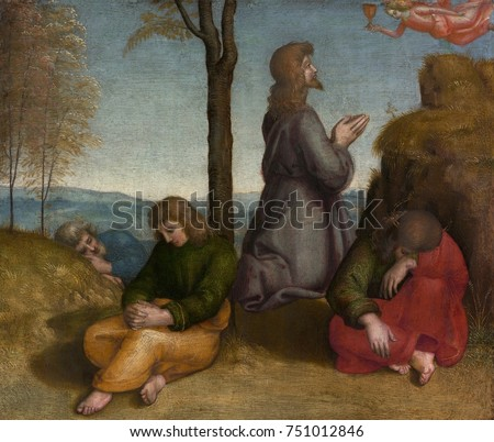 THE AGONY IN THE GARDEN, by Raphael, 1505-20, Italian Renaissance painting, oil on wood. Christ is praying in the Garden of Gethsemane before his arrest, as his disciples asleep around him