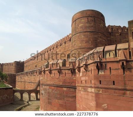 the Agra Fort in Agra in Uttar Pradesh, India - stock photo