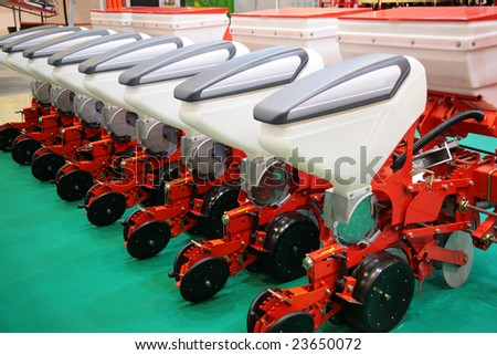 The agricultural equipment for fertilizer of fields - stock photo