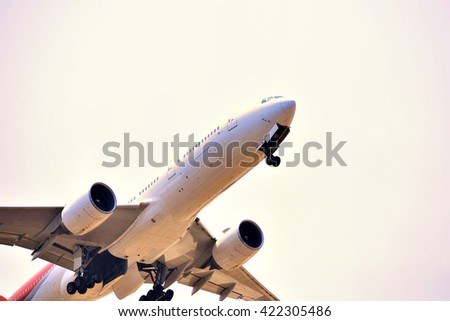 The air freight  carries cargo By plane - stock photo