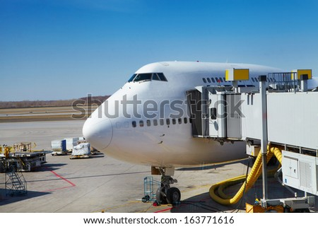 The airport. The airplane at the airport - stock photo