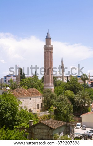 "The Alaaddin or Yivli Minare Mosque (""Fluted Minaret"" Mosque), commonly also called Ulu Mosque in Antalya is a historical mosque built by the Anatolian Seljuk Sultan Alaaddin Keykubad I."