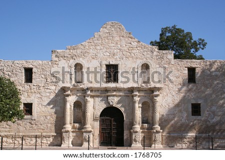 The Alamo in San Antonio, Texas.  A large piece of Texas history and pride.  Remember the Alamo! - stock photo