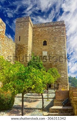The Alcazaba of Malaga Century X in the Arab period in Malaga Spain - stock photo