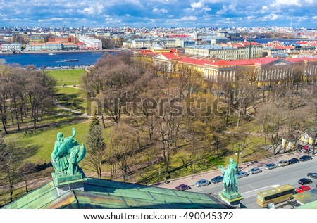 The Alexander Garden and Admiralty building from the roof of St Isaac's Cathedral in St Petersburg, Russia.
