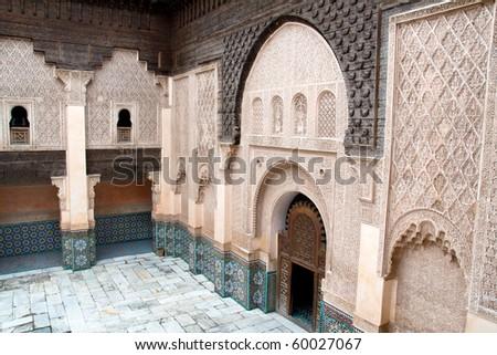 The Ali Ben Youssef Madrassa in Marrakech, Morocco - stock photo