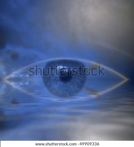 The all-seeing Eye or Eye of Providence here symbolized in an iris montage in a full rainbow reflected in water - stock photo