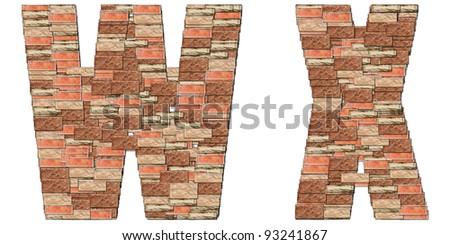 The alphabet brick wall on white background W X - stock photo