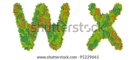 The alphabet leaf on white background W X - stock photo