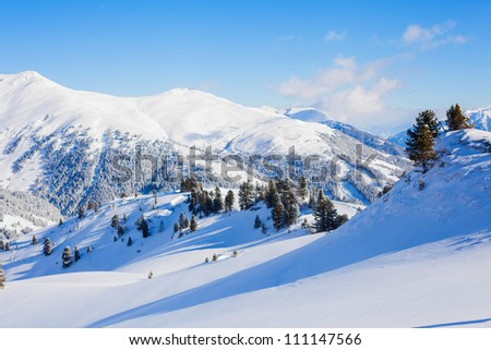 The Alpine skiing resort in Austria Zillertal - stock photo