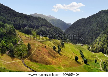 The alpine valley Oetztal in summer. Tyrol, Austria. - stock photo