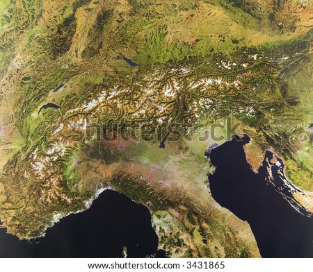 The Alps, Europe from space - stock photo
