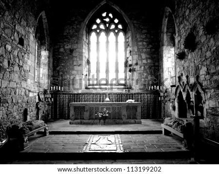 The Altar, Iona Abbey on the Isle of Iona, Scotland - stock photo