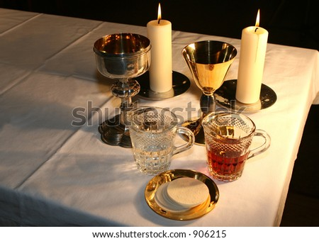 The altar is lit by the early morning sunlight - stock photo