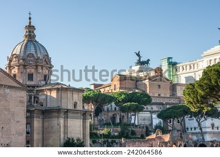 The Altar of the Fatherland. Against the background of the Roman Forum