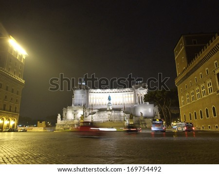 The Altar of the Fatherland (Altare della Patria) or National Monument to Victor Emmanuel II on Piazza Venezia - stock photo