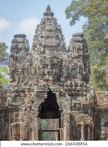 The amazing faces at the Bayon Temple, Siem Riep, Cambodia. Faces at Bayon - stock photo