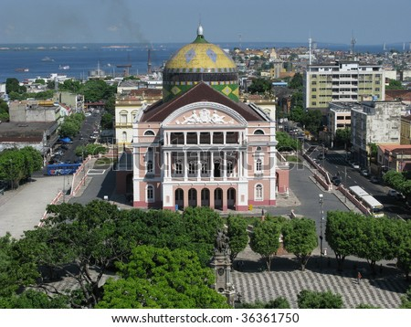 The Amazon Theater Manaus, built in 1896, during the time of the rubber barons - stock photo