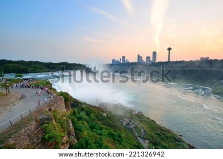 The American Falls from Niagara Falls closeup at dusk after sunset  - stock photo
