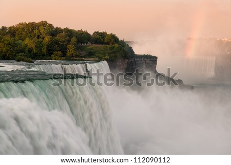 The American Falls from the Prospect Point Viewing Area in Niagara Falls State Park in Niagara Falls, New York - stock photo